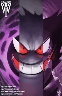 Gastly Haunter & Gengar Triple Split Pokemon by Wizyakuza