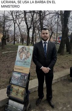 JWs are now allowed to have beards and publicly preach. This photo is from the Ukraine. No word yet on the use of man buns. :-)