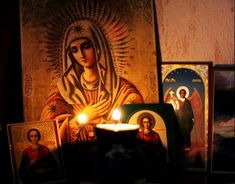 Russian icons in candle light Old Catholic Church, Prayer Corner, Home Altar, Russian Icons, Word Of Faith, Byzantine Icons, Art Thou, Images And Words, Home Icon