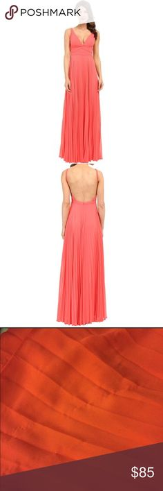 LAUNDRY Shelli Segal pleated v-neck gown Beautiful full pleated gown with deep neck line and open back. Worn twice. Slight pulling at bottom back of skirt from heels (seen in pictures) Laundry by Shelli Segal Dresses
