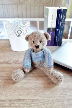 Is your home in need of a little personal comfort? Could you use a  friendly face on your dreary office desk? Reuben will add a relaxing  touch to your decor and make your living and working space 'home'. Click  through for more photos and other cute teddy bear. #cuteteddybear #homeconfortinspiration #teddybeardecor #handmadegift  #knittedteddybear Teddy Bear Clothes, Teddy Bear Gifts, Cute Teddy Bears, New Home Presents, Knitted Teddy Bear, Unique Birthday Gifts, Sheep Wool, Cute Sweaters, Creative Gifts