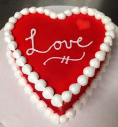 Red airbrushed love DQ mini heart ice cream cake Valentines Day Desserts, Valentine Cake, Buttercream Cake, Fondant Cakes, Dairy Queen Cake, Button Cake, Purple Cakes, Green Cake, Edible Printing