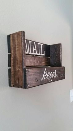 Mail and key organizer, Diy And Crafts, Made to order wood mail storage and key holder. Price is for similar holder shown in photos. This wall hanging wooden holder will organize both your m.