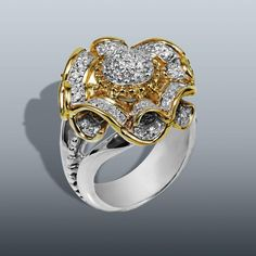 "The ""Marguerite"" ring. 14k Gold with 0.33 cts Diamonds in Sterling Silver band. #VahanPinterest"