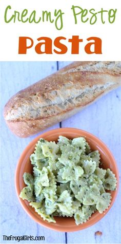Creamy Pesto Pasta Recipe - from TheFrugalGirls.com