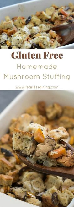 Quick and easy gluten free dressing recipe. How to make the best gluten free mushroom stuffing. This easy recipe video shows you all of the steps! Recipe at www.fearlessdining.com #glutenfree #glutenfreedressing #glutenfreestuffing #thanksgivingrecipe via @fearlessdining