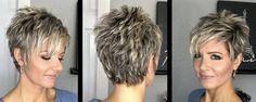 Pixie Back # hairstyles hair hairstyles hair gray - Modern Short Haircut Styles, Haircuts For Fine Hair, Cute Hairstyles For Short Hair, Headband Hairstyles, Curly Hair Styles, Pixie Haircuts, Grey Hair Modern, Short Grey Hair, Short Hair With Layers