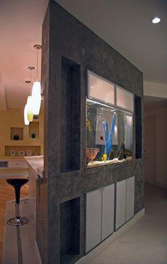 Kitchen inset aquarium by Aqua Terra Studios