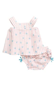 fdfd8b2c73bd2 Free shipping and returns on Hatley Glitter Starfish Stripe Top & Ruffled  Bloomers Set (Baby