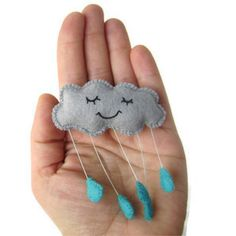 Contented Rain Cloud Felt Brooch - Blue Raindrops by Candykins Crafts