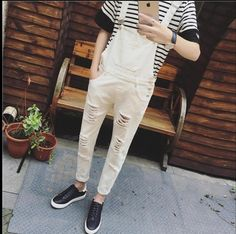 34a2cb58cc52 2017 new Bib pants ankle length trousers male spring personality tide slim  men s clothing dj hole