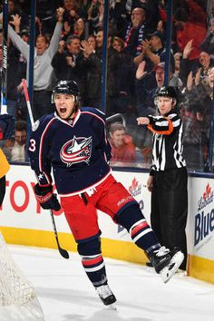 PHOTO 7 OF 139 - PITTSBURGH PENGUINS VS. COLUMBUS BLUE JACKETS COLUMBUS, OH - DECEMBER 22: Cam Atkinson #13 of the Columbus Blue Jackets reacts after scoring a goal during the first period of a game against the Pittsburgh Penguins on December 22, 2016 at Nationwide Arena in Columbus, Ohio. (Photo by Jamie Sabau/NHLI via Getty Images) Cam Atkinson, Hockey Goal, Hockey Pictures, First Period, Columbus Blue Jackets, Nhl Players, Penguin S, December 22, Nfl Fans