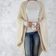 Knitting Pattern Over-sized Scoop Shrug Knit Cardigan Shrug Knitting Pattern, Cardigan Pattern, Knit Cardigan, Knit Shrug, Shrug Sweater, Knit Purl Stitches, Lion Brand Wool Ease, Cocoon, Super Bulky Yarn