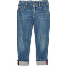 Gucci Washed Denim Straight-Leg Jeans (16.010 RUB) ❤ liked on Polyvore featuring blue and kids apparel jeans
