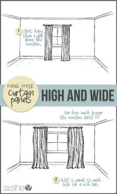 Hang curtains high and wide to make a window look larger plus home staging tips on Frugal Coupon Living. Update the value of your home for less. Decorating Tips, Decorating Your Home, Interior Decorating, Manufactured Home Decorating, Rental Decorating, Interior Design, Home Renovation, Home Remodeling, Diy Home Decor For Apartments