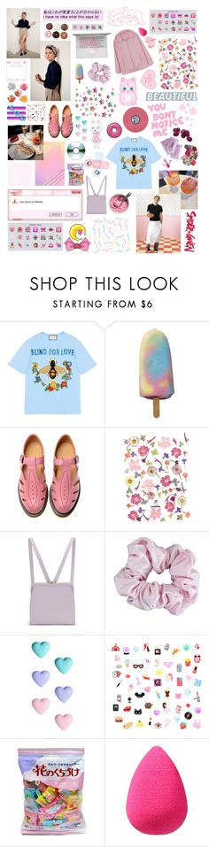"""""""I'm not God, but if I was, I'd be an angry God."""" by homeshake ❤ liked on Polyvore featuring womb, Gucci, GET LOST, Floyd, Dr. Martens, Lulu Guinness, American Apparel, River Island, beautyblender and Gatsby"""
