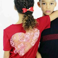 Image of The 'Valentina' top in deep red. Lace embroidered sequined heart cut-out