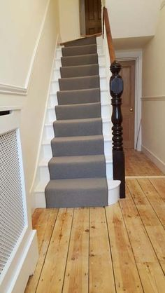 Client: Private Residence In North London Brief: To supply & install grey carpet to stairs as runner