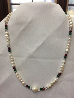 Christmas Pearl and Gemstone Pendant by JTwearables on Etsy