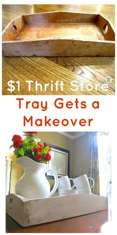 A thrift store wooden tray gets a makeover. A bit of whitewash and dark wax make. - A thrift store wooden tray gets a makeover. A bit of whitewash and dark wax make it look beautiful! Cheap Furniture Makeover, Diy Furniture Easy, Repurposed Furniture, Dark Furniture, Furniture Plans, Repurposed Items, Furniture Movers, Pipe Furniture, Refurbished Furniture