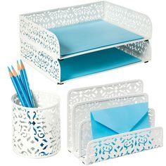 nice looking desk accesories with a brocade patern