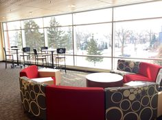 "Second floor of the SCSU Library. We call it the ""Sunset Lounge"" because the windows face west."