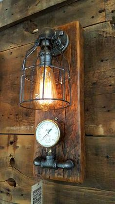 Steampunk, Industrial Barn Wood Wall Sconce, light, lamp, #1066