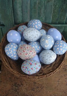 Blue fabric Easter eggs #Easter