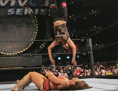 Lita flys through the air in her final match at the 2006 Survivor Series