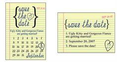 Save-the-Date Cards and Wedding Invitations Examples Wedding Invitations Examples, Save The Date Invitations, Wedding Invitation Design, Save The Date Cards, Notebook Paper, School Themes, Wedding Save The Dates, Be My Bridesmaid, Note Paper