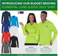 Best Branding : Introducing our budget-beating Elemental Long Sleeve Golf Shirt  Elemental Long Sleeve Golf Shirt by US Basic  Suitable for work or play, our budget-beating new Elemental Long Sleeve Golf Shirt by US Basic pairs perfectly with almost anything. This Africa-manufactured shirt is available in 8 sensational colours and includes a one-position embroidery to promote your brand message.  The inclusive of embroidery promotion applies and is subject to the following criteria (where… Fleece Jackets, Embroidered Jacket, Ms Gs, Golf Shirts, Lady, Promotion, Shell, Africa, Winter Jackets
