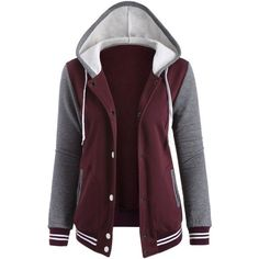Contrast Sleeve Fleece Baseball Hoodie Jacket (€19) ❤ liked on Polyvore featuring outerwear, jackets, tops, coats, purple jacket, fleece jacket, purple fleece jacket, fleece baseball jacket and baseball jacket