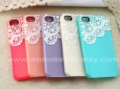 Vintage Lace with Pearl iPhone 4 case, iPhone 4s case, iPhone case, iphone cover ,iphone 4 cover, 5 Colors For Choice....Soo Cute