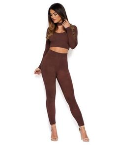 b48efcd4d4 Fit To Kill High Waisted Double Leggings in Chocolate Brown Trousers