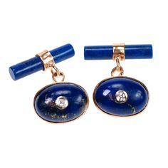 Online veilinghuis Catawiki: Diamond, Lapis Lazulis, 9k gold cuff links, ca. 1930