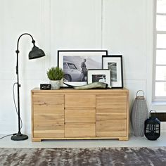 We love our new Scandi-inspired Novalie range, including this chic and simple sideboard made from pale oak. Kitchen Sideboard, Sideboard Decor, Oak Sideboard, Dining Room Design, Dining Room Furniture, Furniture Storage, Bookshelf Design, Stylish Home Decor, Minimalist Decor