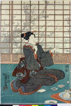 Woodblock print, triptych. Girls playing 'kitsune ken'. Nishiki-e on paper. - 1