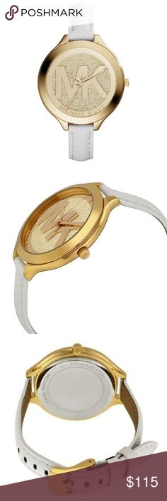 Michael Kors runway White Leather Watch 100% Authentic Michael Kors!  Buy with confidence!  • MSRP: $225.00 • Style: MK2389  Description: Slim white leather gives uptown sensibility to a glittering gold-tone stainless steel dial featuring the classic Michael Kors logo.   Features: • Case Size: 42 mm • Case Thickness: 8 mm • Band Width: 12 mm • Water Resistant: 5 ATM • Warranty: 2 Year International • Origin: Imported  Please feel free to ask any questions. Happy shopping! Michael Kors…