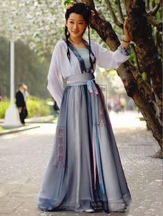 Women's Chiffon Gray Skirt Ruqun dress China Tang Dynasty Hanfu Clothing - USD $ 274.00
