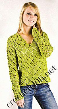 Зеленый пуловер крючком - Вязание Крючком. Блог Настика. Схемы, узоры, уроки бесплатно