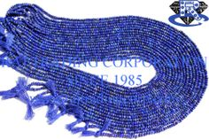 Lapis Lazuli Faceted Roundel (Quality A) Shape: Roundel Faceted Length: 36 cm Weight Approx: 3 to 5 Grms. Size Approx: 2.3 to 2.8 mm Price $18.00 Each Strand