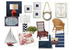 Nautical Office. Add color with white frames, and colorful accents.