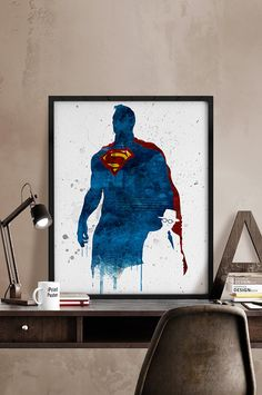 Superman print Superman watercolor Superhero print by iPrintPoster