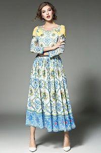 22b58296829 Simgent Runway 2017 Designer Womens Spring Floral Flower Printed Ruched  Long Elegant Fashion O-Neck