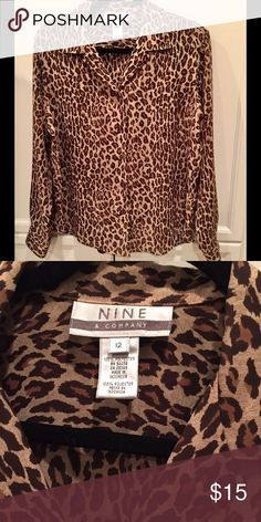 Leopard animal print blouse top shirt 12 M L ❤️❤️ Can be worn to the office and then out for the night! Great condition. Size 12. Made by Nine and Company (Nine West) Don't hesitate to ask any questions and thanks for looking ❤ nine and company Tops Blouses