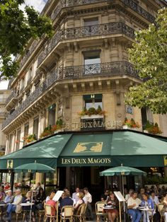 """If you stay in paris you have to go to Les Deux Magots, take a break drink a cup of coffee and see all around you, a great place for inspiration, Every morning, Jean Paul Sartre with Simone de Beauvoir would take his seat at """"Les Deux Magots"""" and write for hours, often without pause, but sometimes stopping to talk to Ernest Hemingway, another regular customer."""