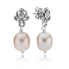 Silver earrings with rose colored freshwater cultured pearl and cubic zirconia. $65 #PANDORA