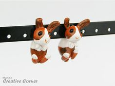 Rabbit Two-Part Earrings White and Brown by MariasCreativeCorner