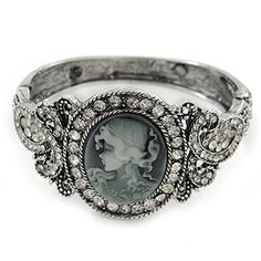 Vintage Inspired Crystal Cameo Hinged Bangle Bracelet In Burnt Silver Tone - L. Occasion: cocktail party, going to theatre, casual wear. Wear On: wrist. Cameo Jewelry, Gothic Jewelry, Antique Jewelry, Antique Silver, Bangle Bracelets, Bangles, Art Nouveau, Steampunk, Pretty Rings