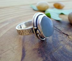 Grey moonstone sterling silver ring silversmith by SelinofosArt